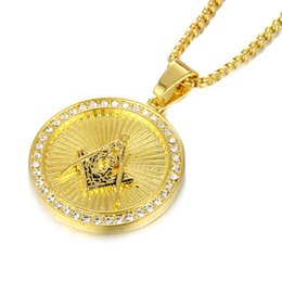 Discount freemasons gifts - Men Gold Silver Stainless Steel Round Masonic Pendant Charm Iced Out Rhinestone Freemason Hip Hop Necklace Gifts Fashion Jewelry