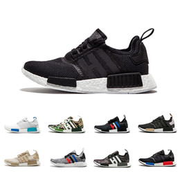 Wholesale red black shoe laces - 2018 NMD R1 Oreo Runner Nbhd Primeknit OG Triple Black White Camo Running Shoes Men Women Nmds Runners Xr1 Sports Shoe Size 36-45