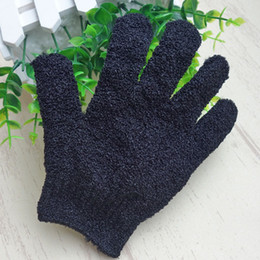 Wholesale massage bath glove - Color Black Peeling Glove Scrubber Five Fingers Exfoliating Tan Removal Bath Mitts Paddy Soft Fiber Massage Bath Glove Cleaner