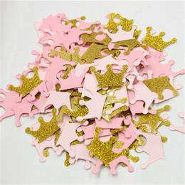 Розовое золото блеск Корона конфетти для нового душа ребенка маленькие девочки День Рождения таблица разброса от