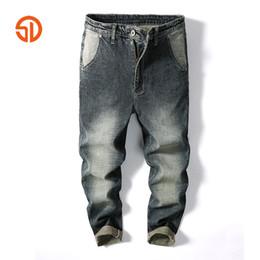 Wholesale Mens Wide Leg Trousers - Casual Mens Jeans Pants Multi Cargo Wide Leg Loose Jeans For Men Hip Hop Baggy Homme Denim Pants Harem Long Trousers