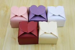 Wholesale sweet love favor box - Sweet Love Heart Shape Wedding Favor and gift Box Colorful Candy Packaging Boxes 100 pcs lot