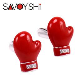 bbe3ac1ff 2019 luvas de boxe vermelho SAVOYSHI Luvas de Boxe Novidade 3D Abotoaduras  para Homens Camisa Marca