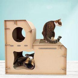 Cubierta de papel online-Tipo de escalera de cubierta doble durable Gato Scratchers Gatos de papel corrugado Scratch Board Fit Sleeping Play Suministros de mascotas 35jb ff