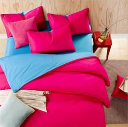 colcha reina rosa roja Rebajas AB Side Duvet Cover Sets King Queen size 100% algodón Rose Red + Blue Adult Bedding Colcha Flat / Fitted sábana Fundas de almohada