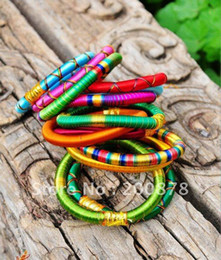 Wholesale Indian Bollywood Dancing - BB-219 Indian colorful Bollywood fashion dance silk knotted bangle,mix order,10 pieces lot,Best offer