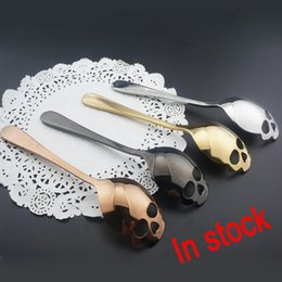 Wholesale Metal Dessert - 2018 New Sugar Skull Tea Spoon Suck Stainless Coffee Spoons Dessert Spoon Ice Cream Tableware Colher Kitchen Accessories Free DHL XL-521