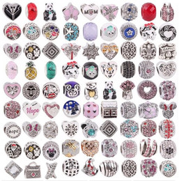 Wholesale cross charms holes - Mix Charm Pendant with Crystal Rhinestones Silver Snake chain for Women European Big hole Beads DIY Jewelry