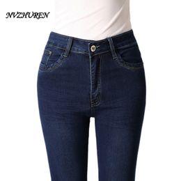 Wholesale Dark Blue Jeans For Women - NVZHUREN Solid Big Size Female Jeans For Women Blue Slim Elastic Skinny Pencil Pants Mid Waist Winter Autumn Stretch Jeans