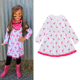 Wholesale Boutique 4t Girl - New Baby Girls Dresses Cartoon Flamingo Printed Princess Dress Spring Autumn Fashion Kids Dresses Boutique Infant Clothes