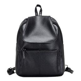 Wholesale Minimalist Designs - Wholesale- Women Leather Black Backpack Small Minimalist Solid Black School Bags For Teenagers Girls Feminine Backpack Simple Design