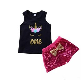 Wholesale Sequin Vests Black - Baby Girl Pink Sequins Blingbling Shorts+ Black Unicorn Vest 2Pcs set Outfits Kid Casual Clothes Girls Summer Boutique Costume Clothing B11