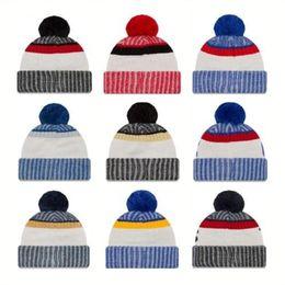 Wholesale Cheap Team Beanies - Cotton All Team Football Pom Pom Beanies Men Women Winter Hats With Pom Cheap Sports Skull Caps Hot Sale