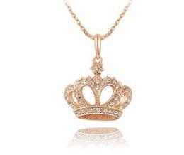 Romántica joyería de moda para mujer rosa de oro corona reina collar colgante niña cumpleaños fiesta de navidad regalo del partido desde fabricantes