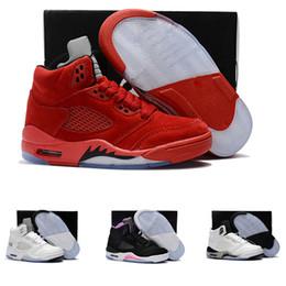 Wholesale Nike air Jordan retro Avec boîte Nouveau en gros daim bleu RED Chaussures de basket ball pour enfants bébé V s Sneakers enfants Sports formateur fille entraîneurs C Y