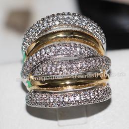 Monili di modo classico 236pcs gemma 5A Zircone pietra 14KT bianco giallo oro Filled Fidanzamento Wedding Band Ring Set Sz 5-11 da