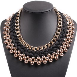 Wholesale Elegant Chunky Necklaces - whole sale2017 New Fashion Design Chain String Braided Chunky Statement Bib Choker Elegant Gold Color Necklace Collar For Women Jewelry