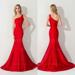 Wholesale one shoulder beach dress - Robe de Soiree Sexy One Shoulder Backless Mermaid Long Evening Dress 2018 Charming Satin Evening Gown Long Party Dresses CPS077
