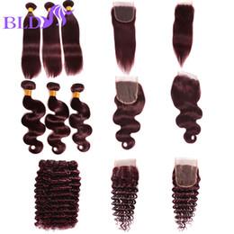 Wholesale Wine Hair Color - Brazilian Red Wine Virgin Human Hair Bundles 99j Straight Body wave Deep Wave Virgin Hair Bundles With Closure Burgundy Human Hair
