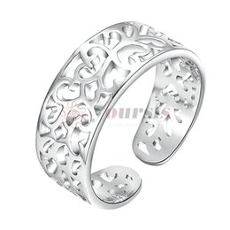 Wholesale white gold filigree - Yoursfs Filigree Rings for Women Silver Flower Adjustable Open Toe Rings Tail Ring for Women