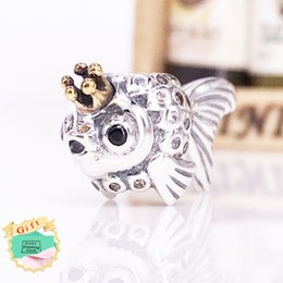 """Wholesale russian gold jewelry - Authentic 925 Sterling Silver Gold Plated Bead """"Russian"""" Fairytale Fish Charms Fits European Pandora Style Jewelry Bracelets 792014CCZ"""
