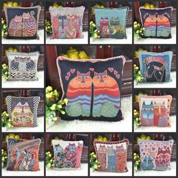 Pano de almofada de sofá on-line-Praça Decorativa Lance Fronha Gato Série Jacquard Pano Capa de Almofada Para Casa Quarto Sofá Decor Fronha Nova Chegada 12 pc BB