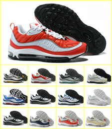 Wholesale 12 mens boots - 2018 New Design 98 OG Fifteen Colors Stripes Casual Running Shoes Blue Black Red Khaki mens Walking Boots Outdoor Sneakers US Size 7-12