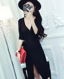 Wholesale Casual Dress Stores - Europe station 2018 autumn Korean style night store sexy fashionable V - neck long - sleeve open fork slim knit bag hip dress free shipping