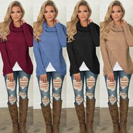 Maglioni rosse a maglia lunga rossa online-Vestiti delle donne Designer Knitting Maglione Scava fuori le camicie a bottone manica lunga divisa elegante donna top brand di lusso vestiti blu vino rosso