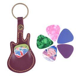 2019 guitarra baixa da porca Couro Kechain Palhetas Guitarra Plectrums Bag Holder Case Vermelho Com 5pcs Picks