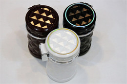 Wholesale Car Auto Cool Air - Cheaper! Car Cigarette Ashtray Portable Auto Smokeless Tobacco Tray with Car Travel LED Blue Light Cool Diamond Cut Face Air Vent Cup Holder
