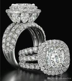 Perla conjunto de la boda online-Victoria Wieck Impresionantes joyas de lujo Anillos para parejas Plata de ley 925 Pera de zafiro Esmeralda Multi Piedras preciosas Conjunto de anillos de boda nupcial