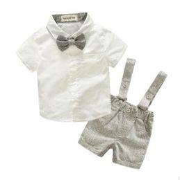 Wholesale Children S Clothes Tutus - New 2018 Summer Fashion Baby Boy Clothes Gentleman T-shirt Overalls Cotton Children Sets Kids Clothing Newborn Clothing Sets 2pcs
