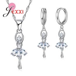 JEXXI Cute Ballet Dancer 925 Sterling Silver joyería nupcial conjunto Cubic Zircon collar colgante pendientes elegantes mujeres regalos desde fabricantes