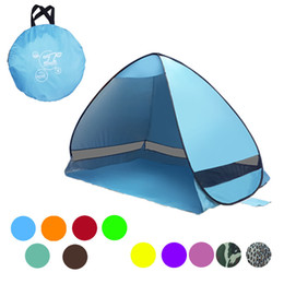 Wholesale Blue Shelter - Travel Camping Tents Sun Shade Automatic Pop Up Canopy Tent UV Protection Beach Shelters Gazebo Portable Easy Bulid Many Colors 48fl ZZ