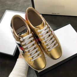 Wholesale real gorgeous - Men's Women's Fashion Real Leather Letter Embroidery, Gorgeous Gold Color, Low-shoe Sneaker Luxury Brand Casual Shoes
