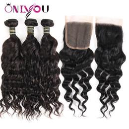 tissage ondulé humide malaysien Promotion Bundles de cheveux de vague de cheveux de vague malaisienne de fermeture de l'eau avec la fermeture Black Extensions de cheveux de vague normale humide et ondulée naturelle usine