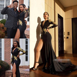 Wholesale long stretch satin dresses - 2018 Sexy Deep V-Neck Prom Dresses Long Sleeve Appliques Stretch Satin Side Split Backless Formal Party Evening Dresses Prom Gowns