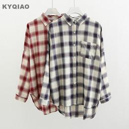 0b532ee0c0 2019 estilo japonês camiseta KYQIAO mulheres BF estilo camisa xadrez  feminino outono inverno estilo japonês Japonês