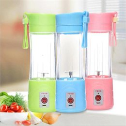 Wholesale Hot Cup Usb - Hot 380ml USB Electric Fruit Juicer Handheld Smoothie Maker Blender Rechargeable Mini Portable Juice Cup Water Bottle