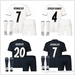67c42731a Real madrid Adult kit soccer Jerseys 2018 2019 RONALDO 18 19 home white  black BALE RAMOS ISCO KROOS kits 18 19 football shirts uniform