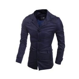 Wholesale Trench Coat Long Men Xxl - Fashion New 2017 Long Trench Coat Mens Slim Fit Casual Windbreaker Jackets Outerwear Overcoats For Men Plus Size XXL
