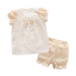 Wholesale Organic Newborn Set - New Organic Cotton Cotton summer Baby Clothing Set short tshirt+Pants 2 pieces Infant Newborn Girl y Clothes Sets Suit