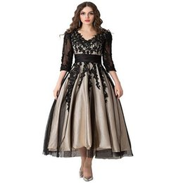 2019 Women s Long Champagne with Black Lace Tulle Plus Size A-line Tea  Length Formal Evening Dresses