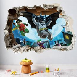 Cartoon Batman Skating Through Wall Sticker For Kids Rooms Home Decor 3D  Effect Broken Wall Decal Art Birthday Gift Poster