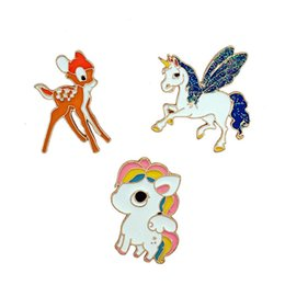 Wholesale Asian Fashion Bags - 2018 Cartoon Colorful Unicorn Brooch Pin Adult Children Fashion Animals Button Pins Bag Jean Hat Accessories Cute Jewelry B131