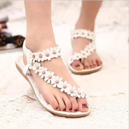 Wholesale Flip Flops Clips - New Fashion Women Shoes Bohemia Flats Sandals Female Girl Casual PU Leather Flower Floral Beach slides Clip Toe Shoes