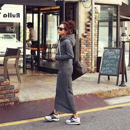abito hoodie grigio Sconti 2015 autunno inverno donna nero grigio maglione abito caldo pelliccia felpe con cappuccio a maniche lunghe Slim Maxi abiti lunghi vestidos Femininas