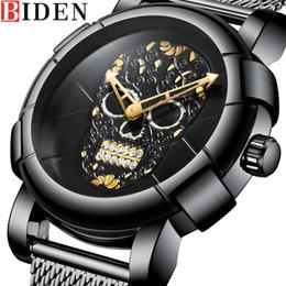 relógio de aço crânio Desconto BIDEN Homens Assistir Top Marca de Luxo Esporte Mens Relógios Crânio Padrão de Aço Inoxidável do Exército Negócios Moda Quartz Relógio Masculino