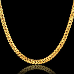 Wholesale Yellow Gold Filled Jewelry - Snake Choker Long Chain Necklace 18K Yellow Gold Filled Jewelry Wholesale 2MM 5MM 7MM Gift For Men Cuban Link Chain HipHop Free Shipping